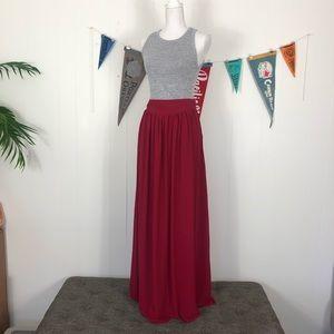 Pins & Needles Red Maxi Skirt